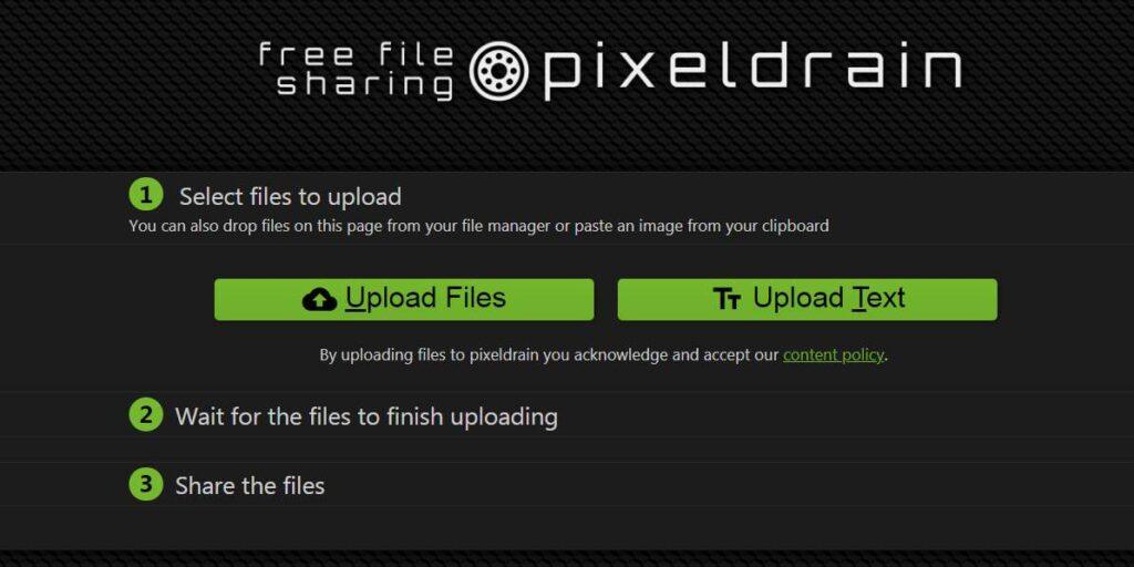 Pixeldrain.com plataforma screenshot